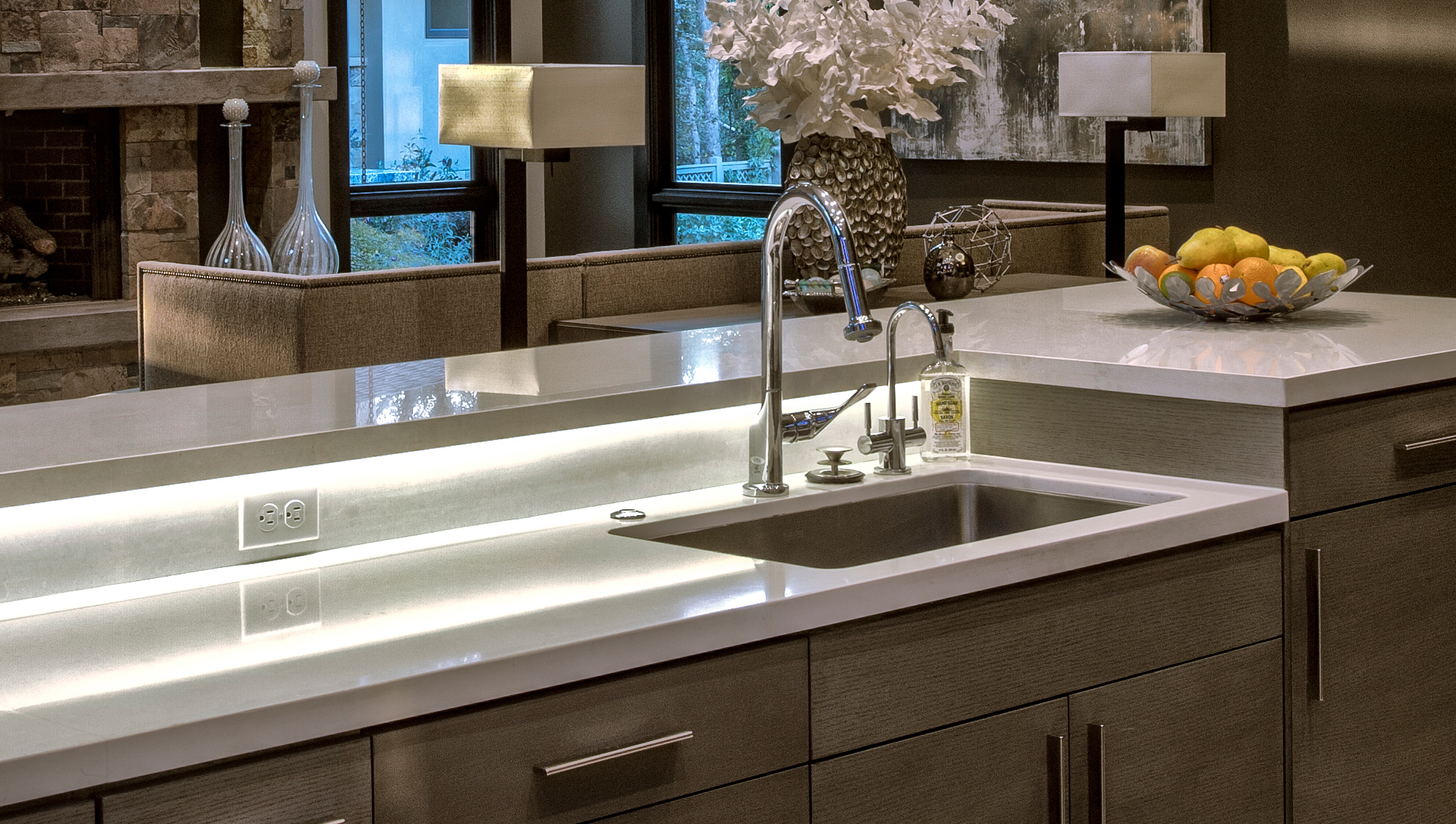 Big Fish LED lights are hidden in this countertop to provide a stunning effect. & LED Accent Lighting | Big Fish Home Automation azcodes.com